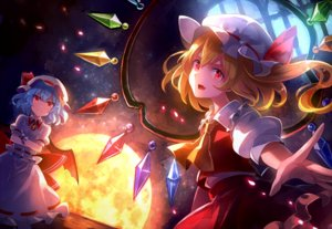 Rating: Safe Score: 27 Tags: 2girls 60mai blonde_hair blue_hair dress flandre_scarlet hat moon ponytail red_eyes remilia_scarlet short_hair touhou vampire wings wristwear User: RyuZU