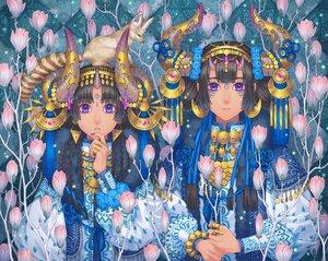 Rating: Safe Score: 24 Tags: 2girls animal black_hair blue_eyes braids flowers fox headband horns long_hair minami_(minami373916) original tattoo User: RyuZU