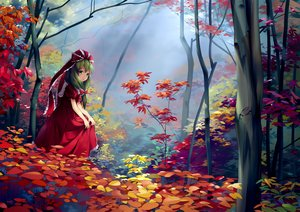 Rating: Safe Score: 97 Tags: autumn bow chen_bin dress forest green_eyes green_hair kagiyama_hina leaves long_hair scenic touhou tree User: RyuZU