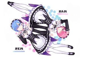 Rating: Safe Score: 46 Tags: 2girls apron aqua_eyes blue_hair blush breasts headdress kenkaizar maid pink_eyes pink_hair ram_(re:zero) rem_(re:zero) re:zero_kara_hajimeru_isekai_seikatsu ribbons short_hair thighhighs twins white User: RyuZU