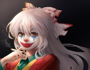 Rating: Safe Score: 53 Tags: cigarette cosplay fujiwara_no_mokou gray_hair joker_(2019) long_hair parody red_eyes shangguan_feiying smoking third-party_edit touhou User: RyuZU