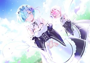 Rating: Safe Score: 52 Tags: 2girls apron blue_eyes blue_hair clouds headband maid mullpull pink_eyes pink_hair ram_(re:zero) rem_(re:zero) re:zero_kara_hajimeru_isekai_seikatsu short_hair sky twins watermark User: BattlequeenYume
