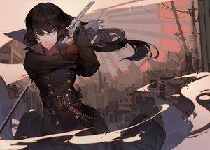 Rating: Safe Score: 71 Tags: black_hair blue_eyes building chain city gloves katana kawacy kill_la_kill kiryuin_satsuki long_hair sword watermark weapon User: otaku_emmy