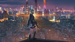 Rating: Safe Score: 135 Tags: an94_(girls_frontline) anthropomorphism boots building city clouds girls_frontline gun long_hair mask scenic shorts signed sky wayne_chan weapon white_hair User: BattlequeenYume