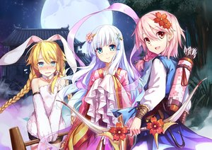 Rating: Safe Score: 125 Tags: animal_ears aqua_eyes blonde_hair blush bow_(weapon) braids bunny_ears bunnygirl collar headband hika_(cross-angel) japanese_clothes long_hair magi_in_wanchin_basilica moon night pink_hair red_eyes short_hair tagme_(character) tree twintails weapon white_hair User: Wiresetc