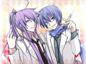 Rating: Safe Score: 20 Tags: all_male blue_eyes blue_hair glasses haru_aki kaito kamui_gakupo male purple_hair vocaloid User: HawthorneKitty