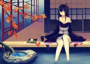 Rating: Safe Score: 85 Tags: alexiel autumn black_eyes black_hair breasts cleavage drink food japanese_clothes kimono leaves long_hair original signed thighhighs water User: gnarf1975