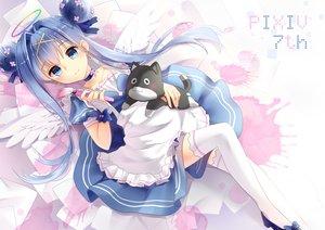 Rating: Safe Score: 114 Tags: angel animal apron blue_eyes blue_hair bow cat choker dress halo kyuri_(405966795) long_hair original pixiv-tan thighhighs wings User: Flandre93