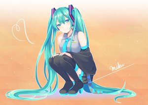 Rating: Safe Score: 52 Tags: aqua_eyes aqua_hair boots gradient hatsune_miku heart long_hair mameda11 orange skirt thighhighs tie twintails vocaloid User: FormX