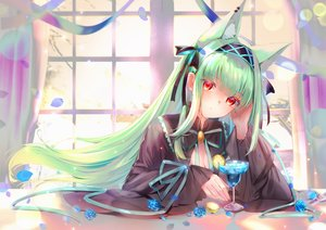 Rating: Safe Score: 15 Tags: animal_ears breasts cape cleavage drink flowers goth-loli green_hair lims_(neko2lims) lolita_fashion long_hair original red_eyes ribbons rose User: BattlequeenYume