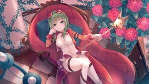 Rating: Safe Score: 40 Tags: breasts choker cleavage couch flowers garter goggles green_eyes green_hair gumi leaves ribbons sakakidani short_hair skirt staff vocaloid User: BattlequeenYume