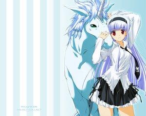 Rating: Safe Score: 27 Tags: animal green_eyes horse long_hair purple_hair red_eyes skirt tie unicorn User: w7382001