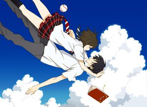 Rating: Safe Score: 55 Tags: book clouds mameko seifuku sky tagme User: opai