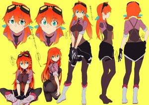 Rating: Safe Score: 61 Tags: aliasing amano_tora ass bodysuit boots breasts gloves goggles green_eyes kazenoko long_hair orange_hair original shorts tie translation_request twintails yellow User: otaku_emmy