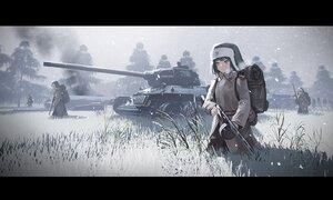 Rating: Safe Score: 45 Tags: black_hair combat_vehicle grass gun hat kexue male military original red_eyes scenic short_hair sky snow uniform weapon User: SnekNOTSnake