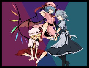 Rating: Safe Score: 26 Tags: blonde_hair blue_eyes dress flandre_scarlet gray_hair hat izayoi_sakuya knife maid red_eyes remilia_scarlet ribbons short_hair touhou wings User: Tensa