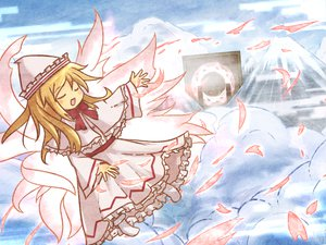 Rating: Safe Score: 21 Tags: akihiyo blonde_hair blush clouds dress fairy lily_white touhou wings User: SonicBlue