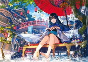 Rating: Safe Score: 141 Tags: aqua_eyes barefoot black_hair building clouds cropped fuji_choko japanese_clothes long_hair original ponytail scan tree umbrella water User: Nepcoheart
