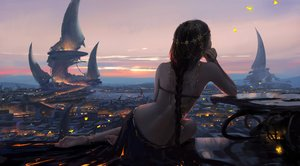 Rating: Safe Score: 321 Tags: aeolian_(wlop) black_hair braids building butterfly city clouds ghostblade headdress landscape long_hair ponytail scenic skirt sky sunset wlop User: BattlequeenYume