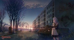 Rating: Safe Score: 24 Tags: animal_ears apron blue_eyes building city clouds combat_vehicle gray_hair gun maid original short_hair sion005 sky sunset translation_request tree weapon User: RyuZU