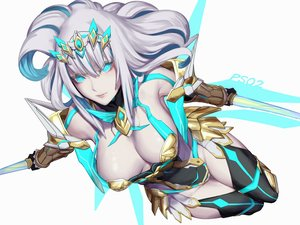 Rating: Safe Score: 34 Tags: aqua_eyes breasts elbow_gloves gloves gray_hair long_hair phantasy_star_online phantasy_star_online_2 shiba_kumiko sword thighhighs weapon white User: RyuZU