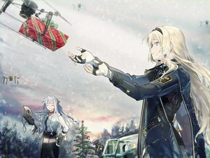 Rating: Safe Score: 92 Tags: 2girls aircraft ak12_(girls_frontline) an94_(girls_frontline) anthropomorphism aqua_eyes blonde_hair cape christmas clouds combat_vehicle girls_frontline gloves gray_hair headband long_hair military sky snow tree wss User: otaku_emmy