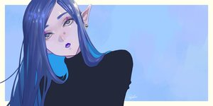Rating: Safe Score: 28 Tags: blue blue_eyes blue_hair close long_hair original pointed_ears signed tajima_yukie User: FormX