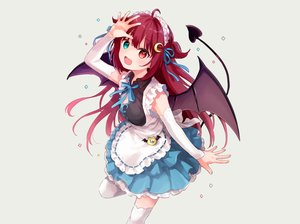 Rating: Safe Score: 35 Tags: apron bicolored_eyes fang headdress konayama_kata long_hair maid nijisanji red_hair ribbons tail thighhighs wings yuzuki_roa zettai_ryouiki User: otaku_emmy