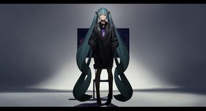 Rating: Safe Score: 42 Tags: aqua_eyes aqua_hair boots choker dark hatsune_miku long_hair necklace silhouette tagme_(artist) twintails vocaloid User: luckyluna