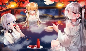 Rating: Safe Score: 24 Tags: anthropomorphism autumn azur_lane blonde_hair blue_eyes blush clouds drink formidable_(azur_lane) illustrious_(azur_lane) leaves long_hair moon night onsen red_eyes sake sky stars tagme_(artist) towel twintails victorious_(azur_lane) water white_hair User: BattlequeenYume