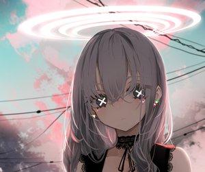 Rating: Safe Score: 119 Tags: angel black_eyes choker close clouds cropped gothic gray_hair halo long_hair naruwe original ribbons sky sunset User: otaku_emmy