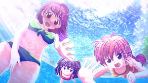 Rating: Safe Score: 42 Tags: bikini brown_hair pool purple_eyes swimsuit thesdroz underwater water User: humanpinka