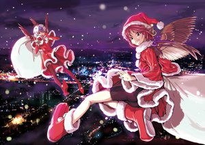 Rating: Safe Score: 61 Tags: 2girls animal_ears bike_shorts blush boots brown_eyes building christmas city elbow_gloves gloves gray_hair hat horns mystia_lorelei night purple_hair red_eyes red_hair santa_costume shiba_itsuki short_hair shorts sky thighhighs tokiko touhou wings User: C4R10Z123GT