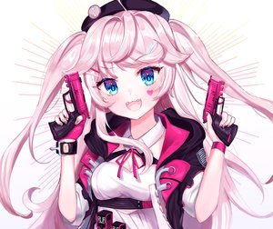 Rating: Safe Score: 44 Tags: anthropomorphism aqua_eyes blush breasts cat_smile cleavage cropped fang girls_frontline gun hat hoodie long_hair p30_(girls_frontline) pink_hair tattoo twintails user_gzwf2823 weapon white wristwear User: otaku_emmy