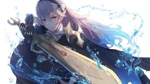 Rating: Safe Score: 176 Tags: armor cape fire_emblem headband kachi long_hair my_unit_(fire_emblem) pink_hair pointed_ears red_eyes sword water weapon white User: FoliFF