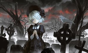 Rating: Safe Score: 115 Tags: animal bird blue_eyes cross goth-loli halloween hat headdress original polychromatic seeker short_hair tree white_hair winter User: Flandre93