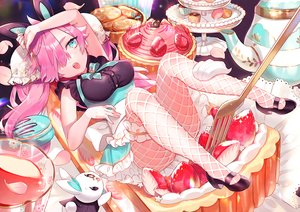 Rating: Safe Score: 60 Tags: animal animal_ears apron aqua_eyes bunny_ears dress drink food fruit garter long_hair maid original petals pink_hair rabbit sa9no stockings strawberry twintails User: BattlequeenYume