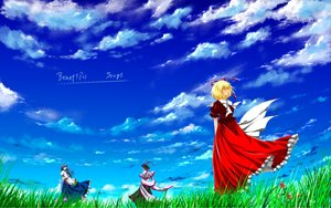 Rating: Safe Score: 23 Tags: blonde_hair blue_hair clouds grass hat hinanawi_tenshi long_hair medicine_melancholy nagae_iku nekominase ribbons short_hair sky touhou User: C4R10Z123GT