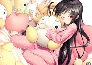 Rating: Safe Score: 36 Tags: barefoot bed black_hair blush long_hair moeki_yuuta original pajamas red_eyes wink User: BattlequeenYume