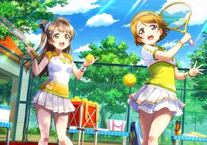 Rating: Safe Score: 30 Tags: 2girls ball bow brown_hair clouds headband koizumi_hanayo long_hair love_live!_school_idol_project minami_kotori orange_eyes pink_eyes short_hair skirt sky sport tagme_(artist) tennis tree User: RyuZU