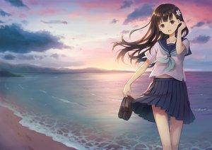 Rating: Safe Score: 48 Tags: 104 beach brown_eyes brown_hair clouds long_hair navel original seifuku skirt sky sunset water User: BattlequeenYume