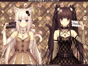 Rating: Safe Score: 753 Tags: 2girls animal_ears bell black_hair blue_eyes blush brown_hair catgirl cat_smile chocola_(sayori) collar dress elbow_gloves flowers food gloves long_hair necklace nekopara orange_eyes rose sayori see_through tail twintails vanilla_(sayori) white_hair User: WindSuzu