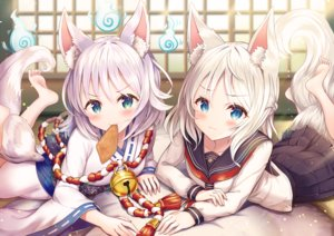 Rating: Safe Score: 68 Tags: 2girls aliasing animal_ears aqua_eyes bell blush fire food foxgirl green_eyes japanese_clothes magic miko original rope sakura_ani school_uniform skirt tail white_hair User: BattlequeenYume