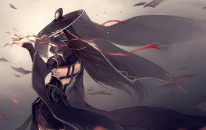 Rating: Safe Score: 225 Tags: 6cat black_eyes black_hair dress hat long_hair mask ribbons tangmen weapon User: Flandre93