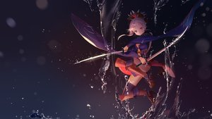 Rating: Safe Score: 116 Tags: fate/grand_order fate_(series) japanese_clothes leiq miyamoto_musashi_(fate/grand_order) pink_hair purple_eyes sword water weapon User: BattlequeenYume