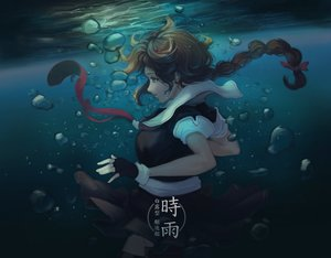 Rating: Safe Score: 101 Tags: anthropomorphism aqua_eyes braids brown_hair bubbles doomfest kantai_collection long_hair ponytail school_uniform shigure_(kancolle) thighhighs underwater water User: FormX