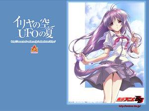 Rating: Safe Score: 6 Tags: clouds iriya_kana iriya_no_sora_ufo_no_natsu long_hair purple_hair red_eyes school_uniform sky watermark User: Oyashiro-sama