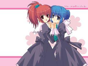 Rating: Safe Score: 9 Tags: 2girls aoi_nagisa blue_hair purple_eyes red_eyes red_hair school_uniform strawberry_panic suzumi_tamao User: Oyashiro-sama