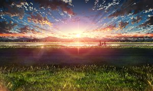 Rating: Safe Score: 200 Tags: bicycle bokuden clouds grass landscape original scenic silhouette sky sunset User: FormX