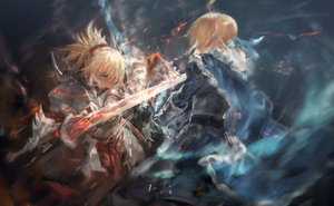 Rating: Safe Score: 137 Tags: 2girls armor artoria_pendragon_(all) avamone blonde_hair cape fate/grand_order fate_(series) green_eyes mordred ponytail saber sword weapon User: luckyluna
